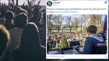 Protest w Belgii przeciw restrykcjom. Był DJ i tańce
